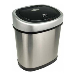 "Nine Stars - 15.2"" Stainless Steel Automatic Sensor 3.1 Gallon Garbage Disposal - The Nine Stars Automatic Sensor Trash Can Model # DZT-12-9, with a capacity of 12 Liters (3.1 Gallons) uses the latest sensor technology. The Automatic Sensor Trash Can lid opens automatically with a simple wave of your hand or object in front of the infrared sensor. Trash can lid opens by placing your hand or any item within 10 inches of the infrared motion detector . The Automatic Sensor Trash Can lid will remain open for the duration of having an object within the sensor's range. Upon removing the object away from the infrared sensor, the Automatic Sensor Trash Can lid will automatically close after 3 seconds."