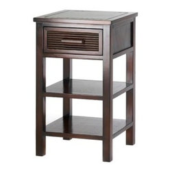 Santa rosa - Santa Rosa Side Table - Add casual sophistication to any decor from classic to modern with this simply stylish table!  A handsome addition to your favorite room, with an ample drawer and two open shelves for easy storage.  Wood and veneer board.