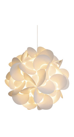 Akari Lanterns - Medium Rounds Hanging Pendant Lamp - Capture the feeling of a paper lantern rising against the night sky in your home with this round-cut, snow white version. A magical light envelopes you and bathes the room in a creamy glow. Inside that warm radiance, nights are sweet, thoughts are calm and dreams are possible. Available in three sizes.