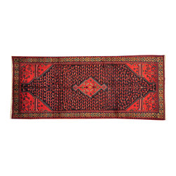 1800 Get A Rug - Semi Antique Hamadan Wide Runner Hand Knotted Oriental Rug Sh16201 - Persian hand knotted rugs have always been the most sought after rugs due to their tremendous variety of design and superb quality. A Persian area rug is usually named after the town or district where they are woven or by the weaving tribe in the case of nomadic pieces.