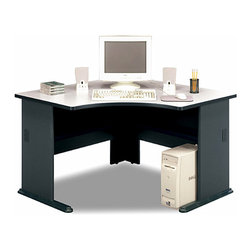 "Bush Business - Slate Corner Computer Desk - Series A - The Series A Slate Corner Computer Desk was designed for convenient functionality while helping you fill that tough-to-utilize corner space.  This stylish, well made computer desk accepts a keyboard shelf and features desktop and leg grommets for concealed wire access.  This computer workstation will fit perfectly in small rooms by taking up only the corner!  Stylish and aesthetically pleasing, it will be a welcome visual addition to any room, while being functional at the same time.  Add a sliding keyboard shelf to increase desktop space and eliminate that cluttered look. * Molded ABS feet with steel insert. Durable 1"""" thick top with melamine surface. Desktop and leg grommets for wire access. Adjustable levelers. Accepts Keyboard Shelf. Ships ready for easy assembly. 47.165 in. W x 47.165 in. D x 29.764 in. H"