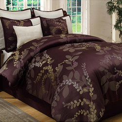 None - Lenox 8-piece King-size Comforter Set - Lend a luxurious touch to your bedroom decor with this luxurious eight-piece comforter set. A lovely leafy vine pattern in warm tan and purple hues highlight this elegant set.