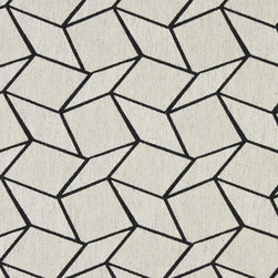 Midnight and Off-White Geometric Boxes Upholstery Fabric - This contemporary fabric is an excellent choice for all indoor upholstery! In addition to looking like linen, this material is woven for enhanced appearance and durability.