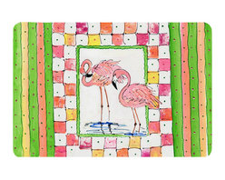 Caroline's Treasures - Bird - Flamingo Kitchen Or Bath Mat 20X30 - Kitchen or Bath COMFORT FLOOR MAT This mat is 20 inch by 30 inch.  Comfort Mat / Carpet / Rug that is Made and Printed in the USA. A foam cushion is attached to the bottom of the mat for comfort when standing. The mat has been permenantly dyed for moderate traffic. Durable and fade resistant. The back of the mat is rubber backed to keep the mat from slipping on a smooth floor. Use pressure and water from garden hose or power washer to clean the mat.  Vacuuming only with the hard wood floor setting, as to not pull up the knap of the felt.   Avoid soap or cleaner that produces suds when cleaning.  It will be difficult to get the suds out of the mat.