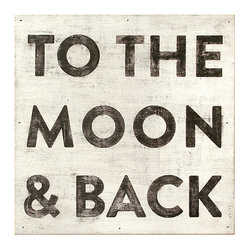 To The Moon and Back Reclaimed Wood Vintage Wall Art, Large