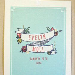 Birth Announcement Wall Art by My Little Buffalo Design - In my opinion, birth announcements all tend to look the same. This print breaks the norm. It's the perfect way to remember your child's birth forever.