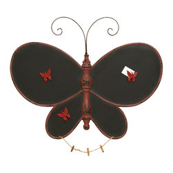Benzara - Exclusive Butterfly Shaped Wooden Message Board in Black - A wooden message board is a common sight in kitchens. But a Butterfly Shaped Wooden Message Board isn't right? This one offers you something never seen before. It is perfect for you to leave notes and reminders. It adds in its own little way to the decor of your kitchen and has a unique design that is styled to perfection. It is dainty shaped as a butterfly with wide, matte black wings. The wings are where you can keep your reminders for the week ahead. It is visually appealing and adds to your kitchen aesthetics. It has a beautiful finish. It is a win-win situation for you as your tasks and reminders can now be put up in style!. It comes with a dimension of 24 in.  H x 27 in.  W x 1 in.  D.