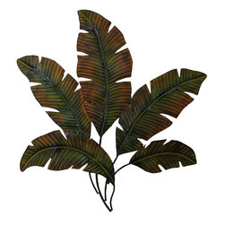 Benzara - Metal Palm Wall Decor with Palm Tree Leaves - Wall decor with great decor sense. Support your existing wall decor with 97920 Metal PALM WALL DECOR . It is an excellent anytime low priced wall decor upgrade option for everyone. Just have a look over this, you will fall in instant love with this coastal decor sculpture. Palm tree leaves makes it special beach decor. It can be used outdoor also.