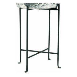 Achla - Wrought Iron Planter Floor Stand - Raise your planter to an entirely new level with this Wrought Iron Planter Floor Stand.  Crafted with pride from sturdy wrought iron, it's powdercoated in deep midnight black for beauty and long lasting durability.  Delicately curved feet provide stability with style. * Made of Iron. Black Powdercoat finish. 7 in. H