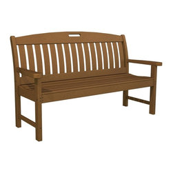 Polywood - 60 in. Eco-friendly Bench in Teak - The Nautical Collection offers many different chair styles along with tables in both traditional and taller heights.