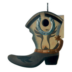 KOOLEKOO - Western Boot Birdhouse - Round up a host of feathered friends for your garden; there's plenty of room for all inside this fanciful birdhouse! The perfect finishing touch to any Wild West outdoor theme.