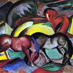 "Franz Marc Three Horses - 16"" x 24"" Premium Archival Print - Horse art"