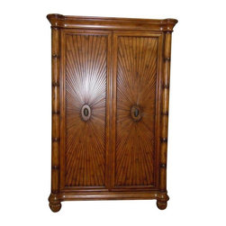 """Pre-owned Schnadig Wooden Armoire - A  beautiful Schnadig armoire in perfect condition. Tommy Bahama style, solid wood with sun burst design detail on front. The seller is practically giving this beautiful piece away at this price. The inside has removable backing for adjustable TV size/cords, shelves and drawers. The piece has been pre fitted (by manufacture) with extra electrical plugs and cable wires    Dimensions 84""""H x 52""""W x 24""""D  Inside TV area is 49"""" wide and 4"""" tall when top shelf is taken out"""