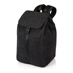 Picnic time - Backpack- MODE Black - The MODE Backpack stylishly combines the casual comfort of a felt tote with the convenience of a backpack. This multi-use, napped felt backpack has an insulated main compartment with a drawstring closure. The top flap folds neatly over the drawstring and snaps closed with a chic buckle and adjustable strap. Beneath the comfortable, adjustable shoulder straps is a secure zippered closure with a double padded laptop compartment and Velcro pocket for papers or other accessories. A large exterior bottle-pocket makes accessing your beverage a breeze without removing your backpack. Available in three colors, the MODE Backpack makes a great gift and is the ideal multi-purpose tote. 10.8 x 9.5 x 17.5