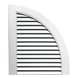 """Builders Edge - Louvered Design Quarter Round Tops in Bright - Provides distinctive styling for standard shutters. Constructed with color molded-through vinyl so they will not scratch, flake, or fade. Durable, maintenance-free U.V. stabilized, deep wood grain texture. Made in the USA. For use with Builders Edge 15"""" Standard Louver Shutters only. 14.5 in. W x 1 in. D x 17 in. H (1.69 lbs.)"""