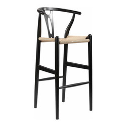 Baxton Studio - Baxton Studio Mid-Century Modern Wishbone Stool - Black Wood Y Stool - This mid-century bar chair features traditional wood construction paired with a modern form, resulting in a unique piece for your home. The frame consists of solid wood with a black finish, a curved backrest, and sturdy, taut unfinished natural hemp cord seat. This item will arrive fully assembled and is also available in natural, dark brown, green, or white and as a dining chair in natural, dark brown, pink, green, black, or white (each sold separately). This is a quality reproduction of the Hans Wegner Wishbone Chair, which is also known as the Wegner Y Chair, Carl Hansen Wishbone Chair, CH24 Wishbone Chair, and the Wegner CH24.