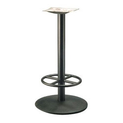 "MTS Seating - Round Series 22 in. Table Base w 3 in. Column & Footring (Black Wrinkle) - Finish: Black Wrinkle. You can safely position that anniversary ice sculpture on a table top affixed to this incredibly constructed and seriously designed 22"", 3"" column table base defined by movable glides, accessible in a myriad of radiant chrome & powdercoats. * Labor Saver Feature. Adjustable Glides - Threaded for manual adjustment. 12 gauge steel mounting plate. Base: 22 in. diam.. Column: 3 in.. Mounting Plate: 16 in. x 16 in.. Weight: 50 lbs.. Recommended Top: Round 24 in. - 36 in.. 40.75 in. overall height"