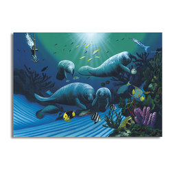 """READY2HANGART.COM - Ready2hangart David Dunleavy 'Diving with Art Mckee' Canvas Wall Art, 16"""" X 20"""" - This beautiful canvas wall art brought to you by Ready2hangart from renowned artist David Dunleavy exemplifies his passion for marine life while translating it to detailed underwater paintings.  It is fully finished, arriving ready to hang on the wall of your choice."""
