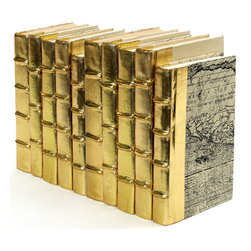 Go Home - Go Home Linear Foot of Metallic Gold Books - Set a wonderful mischievous mood by decorating your home with this lavish series of metallic gold books. This linear foot of books features ten beautifully designed golden spine books. Yet another master piece from the European country collection, this decorative will make a bold statement in every corner it is placed.