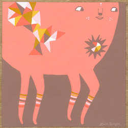 Laura Berger - Going Somewhere by Laura Berger - Do you dream of faraway lands and one-of-a-kind creatures? Here's a fun fantasy acrylic by Laura Berger that will add some pale pink, geometric patterns and playfulness to your child's nursery or playroom.
