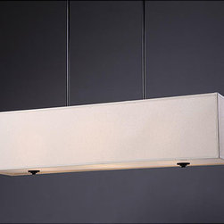 None - New Ventura 3-light Rectangular Chandelier - This rectangular chandelier is an elegant addition to any decor. This lighting fixture features a black finish and a beige hardback shade.