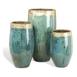 Interlude - Makayla Vases - Ocean - Set of three vases in ceramic with silver accents on teal reactive glaze.