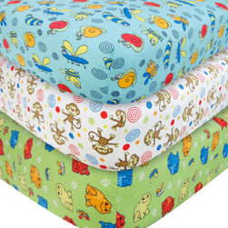 """Trend Lab - 3 Pack Flannel Crib Sheet Set - Critters - Your child's bed will be soft and cozy with this Critters Flannel Fitted Crib Sheet Set by Trend Lab. Sheet patterns include: one bug scatter print featuring bumble bees, snails, caterpillars, dragonflies, and swirls in sage, robin's egg blue, red hot, lemon, cream, and black on a scuba blue background; one monkey scatter print featuring monkeys, dots, and swirls in sage, orange crush, red hot, lemon, caramel, chocolate, almond buff, cream and scuba blue on a white background; and one frog scatter print featuring frogs and dragonflies in robin's egg blue, orange crush, red hot, lemon, scuba blue and white on a sage background. Sheet features 7"""" deep pockets and fits a standard 52"""" x 28"""" crib mattress. Elastic around entire opening and elastic sheet straps sewn in each corner ensures a more secure fit. Coordinates with the Animals collection by Trend Lab."""