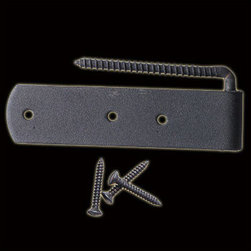 Black Wrought Iron Shutter Hinge - This Rat Tail shutter dog combines distinctive style, function & the remarkable durability of handcrafted wrought iron.