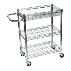 Luxor - Luxor Chrome Wire Cart - LICWT3014 - The LICWT heavy duty transport carts are constructed from chrome plated steel construction and are lightweight, easy to handle carts
