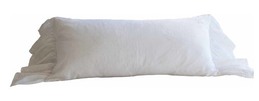 """Taylor Linens - Daisy Dot White Bolster Pillow - Our classic Daisy Dot linen is reminiscent of antique European linens with intricate embroidery done on delicate linen and organdy.  Any of the pieces in this collection are sure to become a treasured family heirloom.  Cotton and Linen. White. Filled with a 100% White Goose Feather and Down Pillow. 18""""x35"""""""