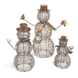 Wire Snowmen with Beads (Set of 3) - Create a unique holiday centerpiece or display with our set of three charming snowmen. These seasonal favorites will add a warming touch wherever you place them; by the hearth, under the tree, even on the sideboard. Each is handcrafted of wire and beads and topped with metal hats and accents.