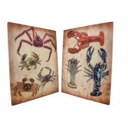 Zeckos - Set of 2 Lobster / Crab Canvas Wall Hangings - This pair of canvases features colorful images of crabs and lobsters on a neutral background, and is a wonderful accent to rooms with beach or nautical decor. Each canvas measures 18 1/8 inches tall, 14 inches wide, 3/4 of an inch thick, and has a hanging slots cut into the wooden frame so it easily mounts to any wall. These canvases are also a wonderful accent to nautical or beach themed bars or restaurants, and make a great gift.