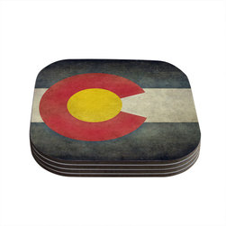 "Kess InHouse - Bruce Stanfield ""State Flag of Colorado"" Black Red Coasters (Set of 4) - Now you can drink in style with this KESS InHouse coaster set. This set of 4 coasters are made from a durable compressed wood material to endure daily use with a printed gloss seal that protects the artwork so you don't have to worry about your drink sweating and ruining the art. Give your guests something to ooo and ahhh over every time they pick up their drink. Perfect for gifts, weddings, showers, birthdays and just around the house, these KESS InHouse coasters will be the talk of any and all cocktail parties you throw."
