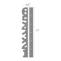 """Simple Shapes - Growth Chart Numbers Wall Decal, Citrus Yellow, Overall Size (Approx): 16.5""""w X - Not just any growth chart, this growth chart has a strip of white vinyl down the middle so that you can mark the progress of your child's growth. Use a marker or a sharpie and track your child's growth!"""