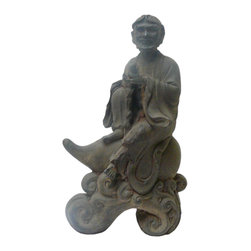 "Golden Lotus - Chinese Rustic Iron Lohon Monk Riding Gourd Figure - Dimensions:  8""x  4.5"" x h13"""