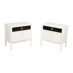 Century Furniture Company - Consigned Custom Mid Century Modern White and Black Century Night Stands - • Only one nightstand included in purchase