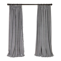 Exclusive Fabrics & Furnishings, LLC - Signature Silver Grey Doublewide Blackout Velvet Curtain - 100% Poly Velvet. 3 Pole Pocket. Plush Blackout Lining . Imported. Dry Clean Only.