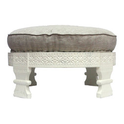 Nuloom - nuLOOM Handmade Chakki Grey Ottoman - Inspired by Indian mills,these Chakki ottomans will enhance the decor.