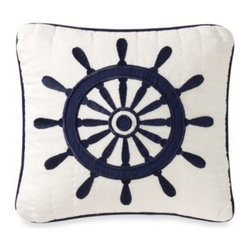 C & F Enterprises, Inc. - Sailing 14-Inch Toss Pillow - Jump aboard this season's nautical fashion obsession with this Sailing square toss pillow. Detailed with an embroidered wheel design on a white ground with navy blue cording all around.