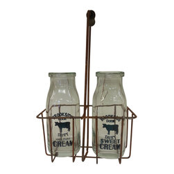 Vintage cream/milk bottles and metal carrier w/wood handle - *** FREE SHIPPING !!! ***