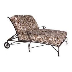 O.W. Lee San Cristobal Wrought Iron Double Chaise Lounge - You'll love spending time talking, relaxing, and even napping outdoors with someone you love in the O.W. Lee San Cristobal Double Chaise Lounge. Embodying the romance of the Spanish Baroque period, this beautiful double chaise lounge has intricate detailing that adds a classic elegance to your patio. Featuring several reclining positions, it's perfect for making the most of your time with a loved one. Extremely comfortable, the San Cristobal Double Chaise Lounge has wheels on the back making it easy for you to move it so you can either follow or avoid the sun. This chaise lounge chair comes with your choice of Sunbrella cushions so you can add a splash of color and your own unique style to this lounge chair. Sunbrella cushions are fade-, stain-, mildew-, and water-resistant, easy to clean, durable, and includes a five year warranty against fading. Beautiful and comfortable, you can even snag this chair for yourself, sit back and relax while keeping your book, drink, towel, and more all within hands reach.Materials and construction:Only the highest quality materials are used in the production of O.W. Lee Company's furniture. Carbon steel, galvanized steel, and 6061 alloy aluminum is meticulously chosen for superior strength as well as rust and corrosion resistance. All materials are individually measured and precision cut to ensure a smooth, and accurate fit. Steel and aluminum pieces are bent into perfect shapes, then hand-forged with a hammer and anvil, a process unchanged since blacksmiths in the middle ages.For the optimum strength of each piece, a full-circumference weld is applied wherever metal components intersect. This type of weld works to eliminate the possibility of moisture making its way into tube interiors or in a crevasse. The full-circumference weld guards against rust and corrosion. Finally, all welds are ground and sanded to create a seamless transition from one component to another.Each fr