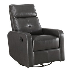 Monarch Specialties - Monarch Specialties 8085GY Bonded Leather Swivel Glider Recliner in Charcoal Gra - This contemporary design accent chair combines 3 functional elements it swivels, it glides, and it reclines, ensuring that you are always in a comfortable position. This brown bonded leather chair with a padded head rest was designed for ultimate comfort. Whether reading a book or watching sports this will be the chair that everyone will want to sit on. The easy glide motion and the contemporary design makes it a chic and fashionable addition for your den, bedroom, living room or basement. It truly is a chair for any room in your home.