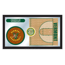 "Holland Bar Stool - Holland Bar Stool Vermont Basketball Mirror - Vermont Basketball Mirror belongs to College Collection by Holland Bar Stool The perfect way to show your school pride, our basketball Mirror displays your school's symbols with a style that fits any setting.  With it's simple but elegant design, colors burst through the 1/8"" thick glass and are highlighted by the mirrored accents.  Framed with a black, 1 1/4 wrapped wood frame with saw tooth hangers, this 15""(H) x 26""(W) mirror is ideal for your office, garage, or any room of the house.  Whether purchasing as a gift for a recent grad, sports superfan, or for yourself, you can take satisfaction knowing you're buying a mirror that is proudly Made in the USA by Holland Bar Stool Company, Holland, MI.   Mirror (1)"
