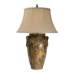 "The Natural Light - Country - Cottage Natural Light Andalusia Ceramic Table Lamp - The ceramic base of this table lamp features an eye-catching finish. The Hopsack beige bell shade brings the perfect contrast. Make any table stand out with this stylish table lamp by Natural Light. Ashes of Vesuvius finish. Hopsack beige bell shade. Takes one 150 watt 3-watt bulb (not included). 35"" high. Shade is 14"" at the top 22"" at the bottom and 13"" on the slant.  Ashes of Vesuvius finish.   Hopsack beige bell shade.   Takes one 150 watt 3-watt bulb (not included).   35"" high.   Shade is 14"" at the top 22"" at the bottom and 13"" on the slant."