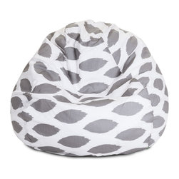 Majestic Home - Indoor Storm Gray Alli Small Bean Bag - Fess up — you've always wanted a beanbag. Now there's one with an elegant pattern to suit your sense of style and fit seamlessly into your modern casual decor. The bonus? The durable cotton twill slipcover zips off so you can toss it in the washing machine.