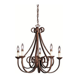 Kichler - Dover II Five-Light Tannery Bronze Chandelier - Traditional scrolling arms in a tannery bronze finish define this chandelier?s classic style.  It includes 88 1/2? of extra lead wire.  Kichler - 2021TZ