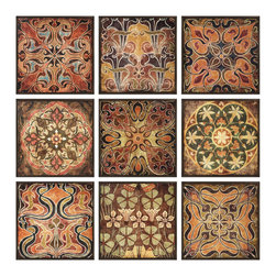 Tuscan Wall Panels - Set of 9 / Individually Framed - *This Colorful  And Warm Set Of 9 Wall Panels, Each With Its Own Intricate Print Resembling Patterns From Tuscan Tile, Has Dark Stained Wood Frames Finishing Off The Edges Of Each Piece.