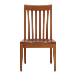 Ethan Allen - Teagan Wood-Seat Side Chair - It's okay if the Teagan chair makes you feel a little slathappy--it tends to have that affect. The classic, craftsman-styled side chair features a slatted, steam-bent back that's eye catching. The Teagan is the perfect choice for those who have an eye for the distinguished look of classic, unfettered lines.