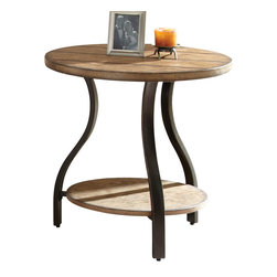 "Steve Silver - Steve Silver Denise 24 Inch Round End Table - Charming primitive style combines with modern curves to create the alluring Denise Collection. The Denise cocktail table stands 24"" high, with a 24"" round barn board look wood top, metal frame and a wood bottom shelf. This unique piece complements the Denise end table and sofa table. What's included: End Table (1)."