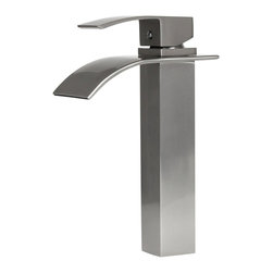 "Dyconn Faucet - Dyconn Faucet Wye VS1H36-BN Brushed Nickel Modern Bathroom / Vessel / Bar Faucet - Dyconn's Wye bathroom vessel faucet exhibits a unique waterfall design while exuding elegance in the form of a brushed nickel finish. Standing at a height just above 10"", the Wye faucet possesses a small footprint yet produces the perfect amount of water for almost any application. An ergonomic, curved handle fits perfectly in the hand and makes for easy use and temperature adjustment. All of our faucets come with a 3 year manufacturer warranty. Package includes faucet, Hot and Cold water hoses, mounting hardware, and installation instructions."
